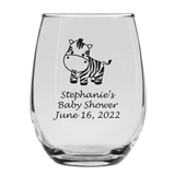 Personalized 15oz Delightful Baby Zebra Design Stemless Wine Glass