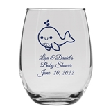 Personalized 15oz Charming Baby Whale Design Stemless Wine Glass