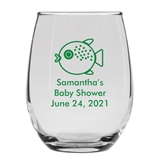 Personalized 15oz Cute Baby Puffer Fish Design Stemless Wine Glass