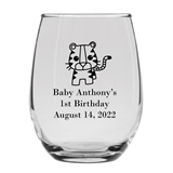 Personalized 15oz Adorable Baby Tiger Cub Design Stemless Wine Glass