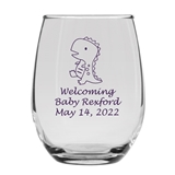 Personalized 15oz Delightful Baby Dinosaur Design Stemless Wine Glass