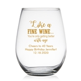 Personalized 15oz 'Getting Better with Age' Design Stemless Wine Glass