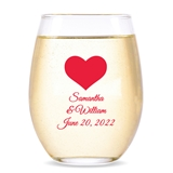 Personalized 15oz 'Forever in My Heart' Design Stemless Wine Glass