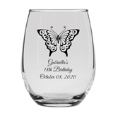Personalized 15oz Butterfly Wings with Eyes Design Stemless Wine Glass