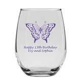 Personalized Butterfly Wings with Eyes Design 9oz Stemless Wine Glass
