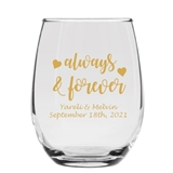 Personalized 'Always & Forever' Hearts Design 9oz Stemless Wine Glass