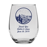 Personalized 15oz 'Blue Ridge Mountains' Design Stemless Wine Glasses