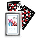 Deck of Playing Cards with Personalized Casino Wedding Sticker on Case