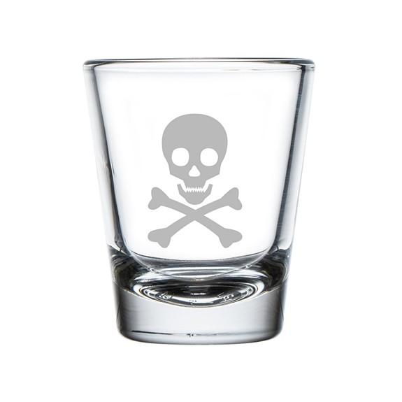 Skull Crossbones Poison Design Engraved Shot Glasses Set Of 4