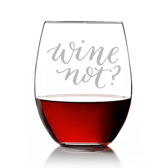 """Wine Not?"" Design Engraved Stemless 15 oz Wine Glass"