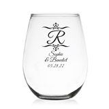 Initial Monogram with Filigrees Personalized 9 oz Stemless Wine Glass