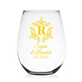 Initial Monogram with Borders Personalized 9 oz Stemless Wine Glass