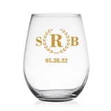 Classic Wreath Monogram Design Personalized 9 oz Stemless Wine Glass