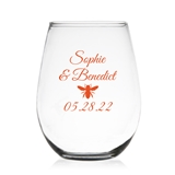 Stylish Western Bumble Bee Design Personalized 9oz Stemless Wine Glass