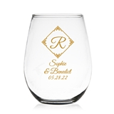 Initial in Oriental Border Design Personalized 9oz Stemless Wine Glass