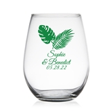 Tropical Chic Palm Leaf Design Personalized 9 oz Stemless Wine Glass