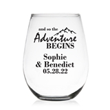 And So the Adventure Begins Personalized 9 oz Stemless Wine Glass