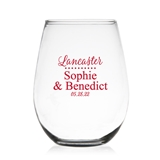 Modern Script Last Name Design Personalized 9 oz Stemless Wine Glass
