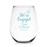 """We're Engaged"" Personalized 9 oz Stemless Wine Glass"