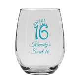 Sweet 16 Party Crown Design Personalized 9 oz Stemless Wine Glass