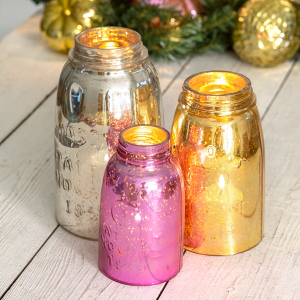 CTW Home Collection Mercury Glass Mason Jar Chimneys (Set of 3)