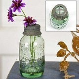 CTW Home Collection Glass Mason Jars with Flower Frog Lids (Set of 6)