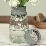 CTW Home Collection 1/4 Pint Mason Jar with Flower Frog Lid (Set of 4)