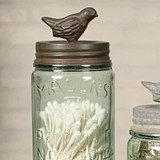 Pint Mason Jar with Songbird Lid with Green/Rust-Colored Finish