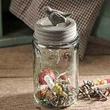 Pint Mason Jar with Songbird Lid with Barn Roof-Colored Finish