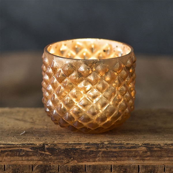 CTW Home Collection Rounded Hobnail Mercury Glass Votive Holders (4)