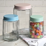 CTW Home Collection Set of Three Faceted Glass Jars with Colorful Lids