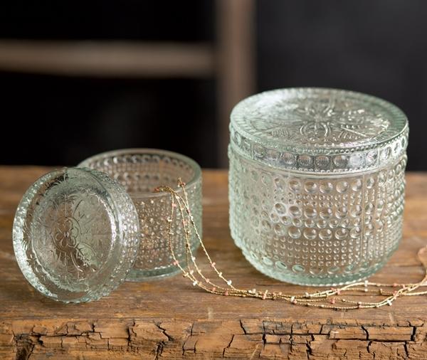 CTW Home Collection Decorative Parisian Hobnail Glass Jars (Set of 2)