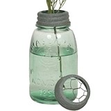 Midget Pint Mason Jar with Chicken Wire Flower Frog in Lid (Set of 4)