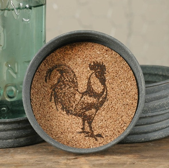CTW Home Collection Mason Jar Lid with Rooster Design Cork Coasters