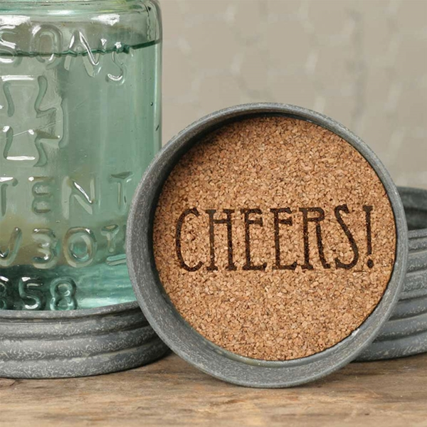 CTW Home Collection Mason Jar Lids with CHEERS! Design Cork Coasters