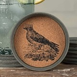 CTW Home Collection Mason Jar Lid w/ Crowned Crow Design Cork Coasters