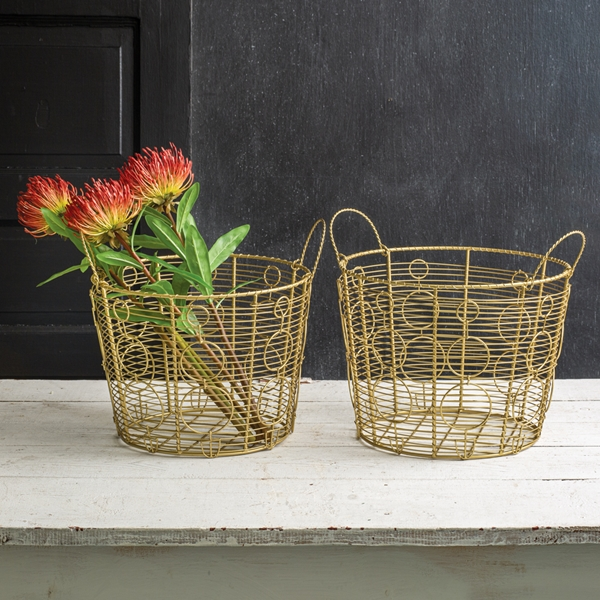 CTW Home Collection Set of Two Gold Wire Baskets with Circles Motif