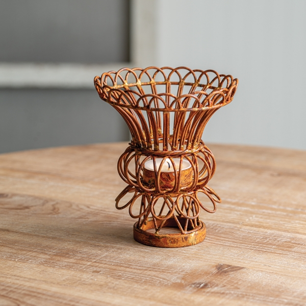 CTW Home Collection Tulip-Shape Rusty Wire Tealight Holders (Box of 2)