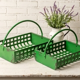 CTW Home Collection Set of Two Green Metal Lattice-Weave Baskets