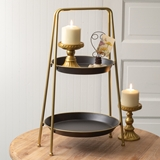 CTW Home Collection Black and Gold Two-Tiered Round Metal Serving Tray