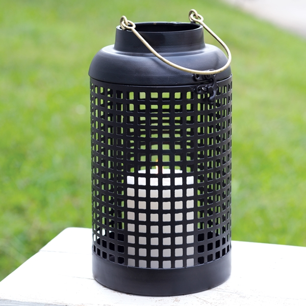 CTW Home Collection Black Metal 'Cupertino' Lantern with Brass Handle