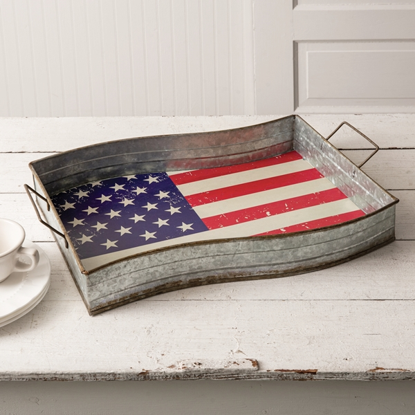 CTW Home Collection Galvanized-Metal American Flag Serving Tray