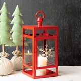CTW Home Collection Red Metal Lantern with Snowflake-Etched Glass Door