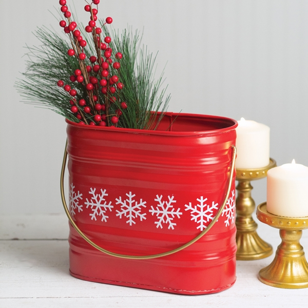 CTW Home Collection Red Metal Bucket with White Snowflake Motif