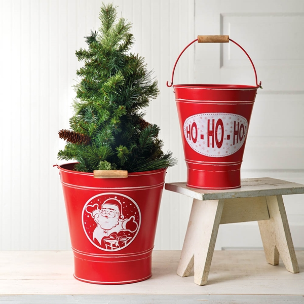 CTW Home Collection Set of 2 Red Metal Holiday Buckets w/ Wood Handles