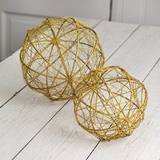 CTW Home Set of 2 Gold Glitter-Covered Woven Metal-Wire Ball Ornaments