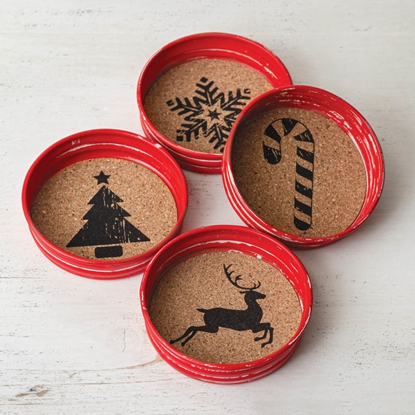 CTW Home Collection Set of Four Red Metal and Cork Holiday Coasters