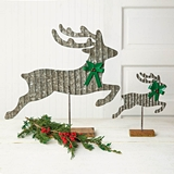 CTW Home Collection Set of Two Galvanized Metal Reindeers with Bows