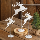 CTW Home Collection Set of 3 Antiqued-White-Metal Reindeer Figurines