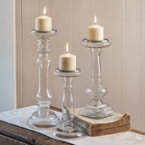 CTW Home Collection Set of Three Clear Glass Pillar Candle Holders